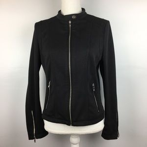Black Rivet Textured Zip Front & Pockets Blazer